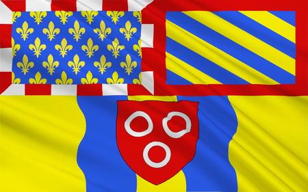 Vlag van Macon, historisch verengelst als Mascon, is een kleine stad in het oosten van Centraal-Frankrijk. Het is de prefectuur van het departement van Sa? Ne-et-Loire, gelegen in de Bourgogne. Stockfoto