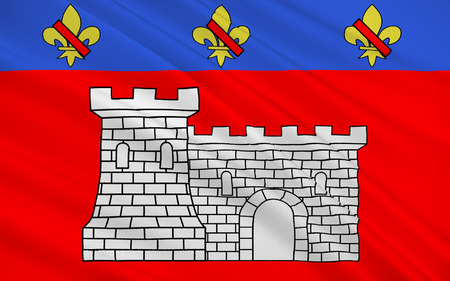 leger: Flag of Villefranche-sur-Saone is a commune in the Rhone department in eastern France Stock Photo