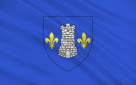 department: Flag of Nontron is a commune in the Dordogne department in Aquitaine in southwestern France. Stock Photo