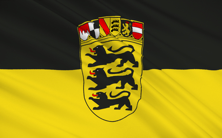 stuttgart: Flag of Baden-Wurttemberg - the land of Germany. Capital - the city of Stuttgart. Wuerttemberg-Baden, South Baden and Wurttemberg-Hohenzollern.