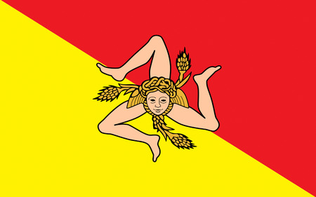 Flag of Sicily is the largest island in the Mediterranean Sea. It constitutes an autonomous Region of Italy, along with surrounding minor islands.