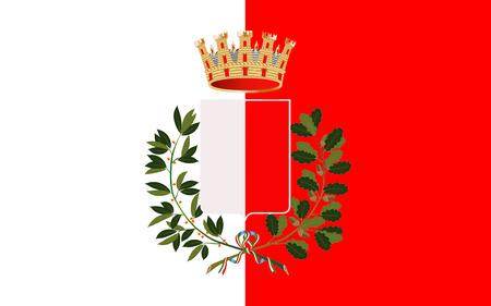 barium: Flag of Bari is the capital city of the Metropolitan City of Bari and of the Apulia region, on the Adriatic Sea, in Italy Stock Photo