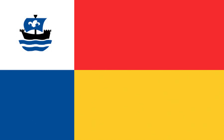 almere: Flag of Almere is a planned city and municipality in the province of Flevoland, Netherlands, bordering Lelystad and Zeewolde Stock Photo