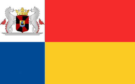 lelystad: Flag of Almere is a planned city and municipality in the province of Flevoland, Netherlands, bordering Lelystad and Zeewolde Stock Photo