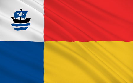 Flag of Almere is a planned city and municipality in the province of Flevoland, Netherlands, bordering Lelystad and Zeewolde Banco de Imagens - 56646630