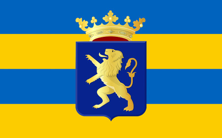 nederland: Flag of Leeuwarden is a city in the Netherlands. It is the capital city of the province of Friesland and situated in the northern part of the country. Stock Photo