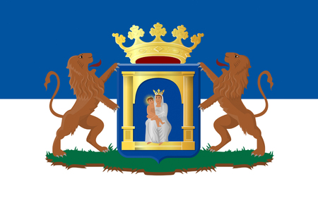 assen: Flag of Assen is a municipality and a city in the northeastern Netherlands, and is the capital of the province of Drenthe Stock Photo