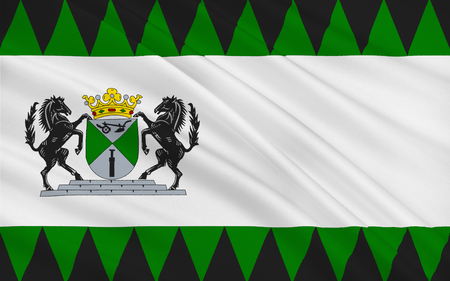 assen: Flag of Emmen is a municipality and a town in the northeastern Netherlands. Stock Photo