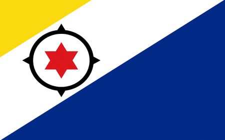 bonaire: Flag of Bonaire is an island in the Leeward Antilles in the Caribbean Sea. Special municipality of the Netherlands. Stock Photo