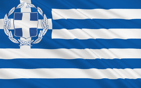 greek islands: Flag of Greece officially the Hellenic Republic also known since ancient times as Hellas is a country located in southeastern Europe Stock Photo