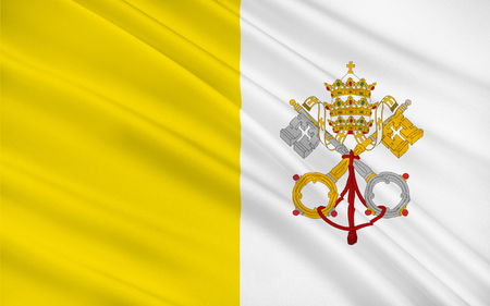 enclave: Flag of Vatican City officially Vatican City State or the State of Vatican City is a walled enclave within the city of Rome Stock Photo