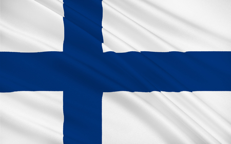 suomi: Flag of Finland officially the Republic of Finland is a sovereign state in Europe Stock Photo