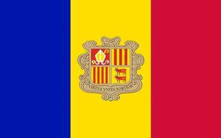 landlocked: Flag of Andorra is a sovereign landlocked microstate in Southwestern Europe, located in the eastern Pyrenees mountains and bordered by Spain and France