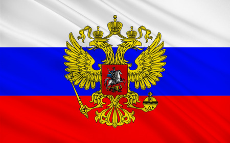 sovereign: Flag of Russia also officially known as the Russian Federation is a sovereign state in northern Eurasia Stock Photo