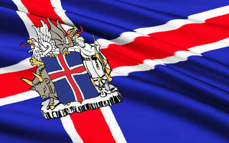 adopted: Flag of Iceland - Adopted 17th June 1944, the day Iceland became a republic. Stock Photo