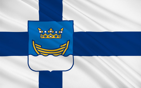 suomi: Flag of Helsinki is the capital and largest city of Finland. It is in the region of Uusimaa, in southern Finland, on the shore of the Gulf of Finland Stock Photo