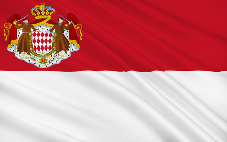 flyaway: The national flag of the Principality of Monaco has been the heraldic colors of the House of Grimaldi since at least 1339. The present design was adopted on April 4, 1881, under Prince Charles III. Stock Photo