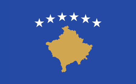 disputed: Flag of Kosovo is a disputed territory and partially recognised state in Southeast Europe that declared independence from Serbia in 2008 as the Republic of Kosovo. Stock Photo