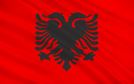 The Flag of Albania is a red flag, with a silhouetted black double-headed eagle in the center, that represents the sovereign state of Albania located in the Balkans