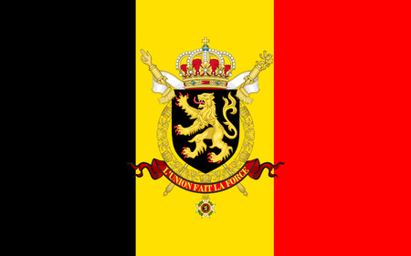 Flag of Belgium officially the Kingdom of Belgium, is a sovereign state in Western Europe Imagens