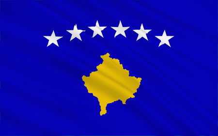 southeast europe: Flag of Kosovo is a disputed territory and partially recognised state in Southeast Europe that declared independence from Serbia in 2008 as the Republic of Kosovo. Stock Photo