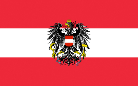 landlocked: Flag of Austria officially the Republic of Austria is a federal republic and a landlocked country in Central Europe Stock Photo