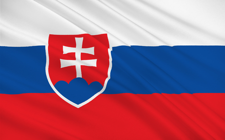 landlocked: Flag of Slovakia officially the Slovak Republic is a landlocked country in Central Europe Stock Photo