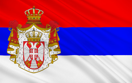 southeast europe: Flag of Serbia officially the Republic of Serbia is a sovereign state situated at the crossroads between Central and Southeast Europe Stock Photo