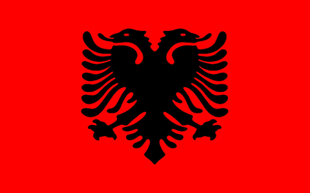 doubleheaded: The Flag of Albania is a red flag, with a silhouetted black double-headed eagle in the center, that represents the sovereign state of Albania located in the Balkans