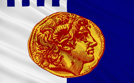 decentralized: Flag of Thessaloniki is the second-largest city in Greece and the capital of Greek Macedonia, the administrative region of Central Macedonia and the Decentralized Administration of Macedonia and Thrace Stock Photo