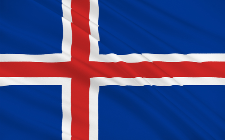 nordic country: Flag of Iceland also called the Republic of Iceland is a Nordic island country between the North Atlantic and the Arctic Ocean Stock Photo