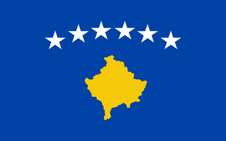 recognised: Flag of Kosovo is a disputed territory and partially recognised state in Southeast Europe that declared independence from Serbia in 2008 as the Republic of Kosovo. Stock Photo