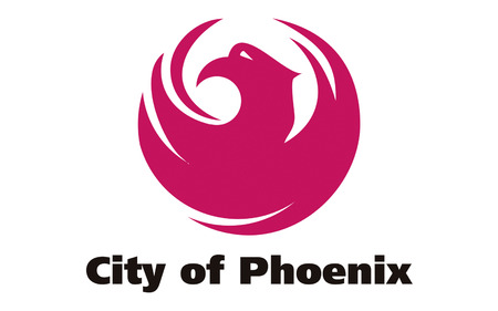 phoenix arizona: Flag of Phoenix - the capital and largest city of the US state of Arizona Stock Photo