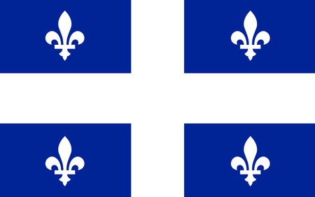 quebec: Flag of Quebec is the second-most populous province in Canada Stock Photo