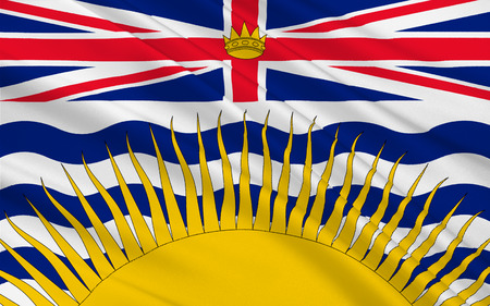 canadian state flag: Flag of British Columbia, also commonly referred to by its initials BC, is a province located on the west coast of Canada Stock Photo