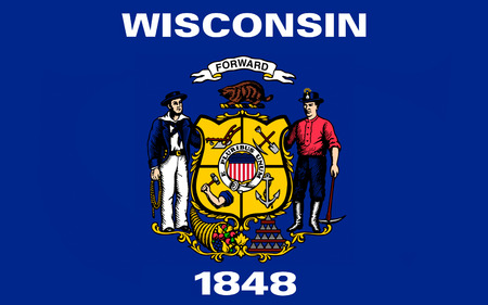 american midwest: Flag of Wisconsin is a U.S. state located in the north-central United States, in the Midwest and Great Lakes regions