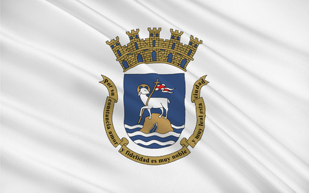 unincorporated: Flag of San Juan is the capital and most populous municipality in the Commonwealth of Puerto Rico, an unincorporated territory of the United States Stock Photo