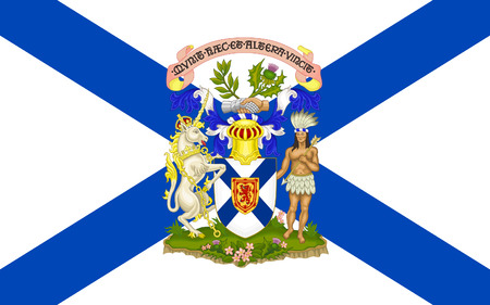 which one: Flag of New Scotland, is one of Canadas three Maritime provinces, and one of the four provinces which form Atlantic Canada. Its provincial capital is Halifax Stock Photo
