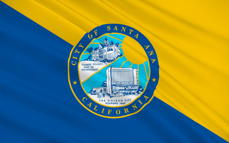 sierra nevada: Flag of Santa Ana is the county seat and second most populous city in Orange County, California, USA Stock Photo