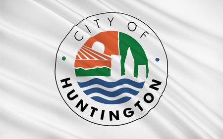 3d virginia: Flag of Huntington is a city in Cabell and Wayne counties in the U.S. state of West Virginia, located at the confluence of the Guyandotte River and the Ohio River Stock Photo