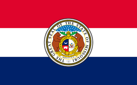 jefferson: Flag of Missouri is a state located in the Midwestern United States Stock Photo