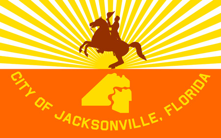 tallahassee: Flag of Jacksonville is the largest city by population in the U.S. state of Florida Stock Photo