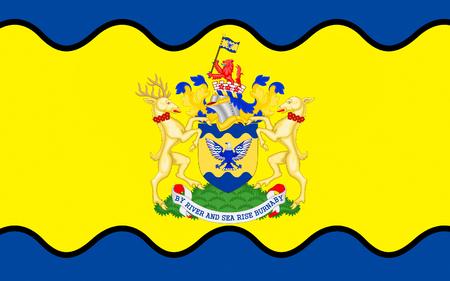 vancouver city: Flag of Burnaby is a city in British Columbia, Canada, located immediately to the east of Vancouver Stock Photo