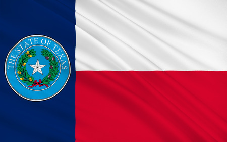 largest: Flag of Texas is the second largest state in the United States by both area and population Stock Photo