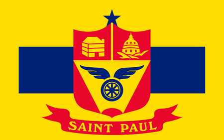 populous: Flag of Saint Paul is the capital and second-most populous city of the U.S. state of Minnesota Stock Photo