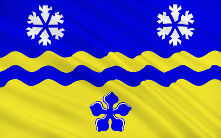 british columbia: Flag of Prince George is the largest city in northern British Columbia, Canada Stock Photo