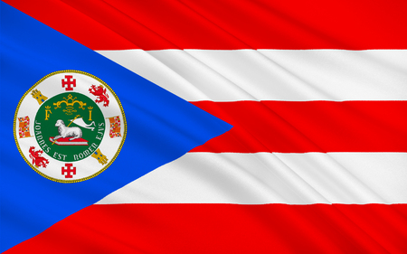 allegiance: Flag of Puerto Rico officially the Commonwealth of Puerto Rico United States territory located in the northeastern Caribbean Stock Photo