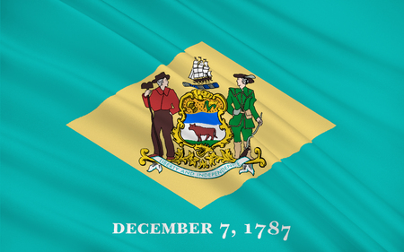 dover: Flag of Delaware is one of the Mid-Atlantic states located in the Northeast megalopolis region of the United States Stock Photo