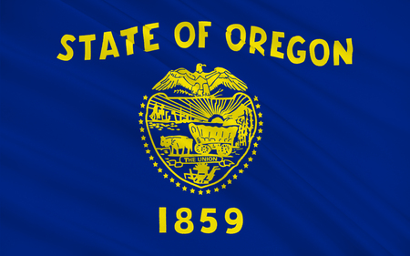allegiance: Flag of Oregon is a state in the Pacific Northwest region of the United States Stock Photo