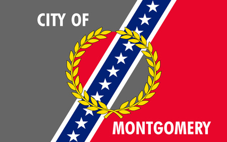 populous: Flag of Montgomery - the capital and second most populous city of Alabama, USA.